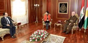 اثناء لقاء الرئيس بارزاني وليلى زانا واصمان بايدمر
